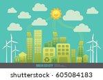green energy urban landscape... | Shutterstock .eps vector #605084183