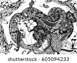 vector illustration zentangl... | Shutterstock .eps vector #605094233
