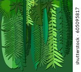 origami tropical plants. back... | Shutterstock .eps vector #605095817