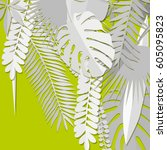 origami tropical plants. white... | Shutterstock .eps vector #605095823