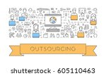 vector line web banner for... | Shutterstock .eps vector #605110463