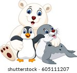 cartoon happy pole animals | Shutterstock .eps vector #605111207