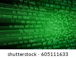 green cyber security concept...   Shutterstock .eps vector #605111633