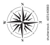 a vector compass rose with... | Shutterstock .eps vector #605140883