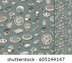 food drawings seamless pattern | Shutterstock .eps vector #605144147