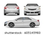 realistic white business car... | Shutterstock .eps vector #605145983