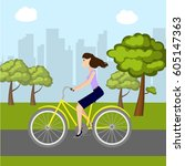 girl on bike in park | Shutterstock .eps vector #605147363