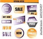 set of sale  buy now  new  half ... | Shutterstock .eps vector #605155457