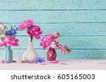 pink peony on blue background | Shutterstock . vector #605165003