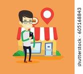 asian man holding smartphone... | Shutterstock .eps vector #605168843