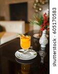 spicy tea with orange slice in...   Shutterstock . vector #605170583