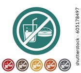 no eating icon.vector... | Shutterstock .eps vector #605178497