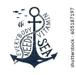 hand drawn label with an anchor ... | Shutterstock .eps vector #605187197