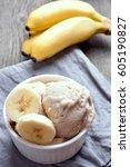 banana ice cream in bowl ...   Shutterstock . vector #605190827