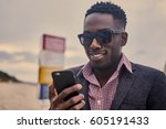 portrait of black male in... | Shutterstock . vector #605191433