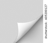 curled corner of paper with... | Shutterstock . vector #605200127