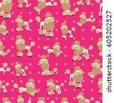 poodle dog on pink background... | Shutterstock .eps vector #605202527