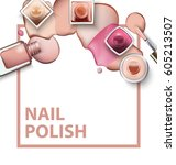 close up of nail polish with... | Shutterstock .eps vector #605213507