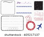 blank postal stamps and foliage ... | Shutterstock .eps vector #605217137