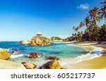 bay by tayrona national park in ... | Shutterstock . vector #605217737