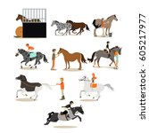 Stock vector vector set of horse riding people icons isolated on white background equestrian sport riding and 605217977