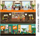 vector set of pub  brasserie... | Shutterstock .eps vector #605217983