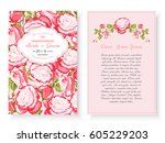 vintage floral background... | Shutterstock .eps vector #605229203