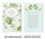 vintage floral background... | Shutterstock .eps vector #605229233