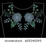 embroidery stitches with... | Shutterstock .eps vector #605240393