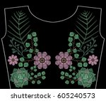 embroidery stitches with... | Shutterstock .eps vector #605240573