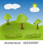 vector nature landscape | Shutterstock .eps vector #605244587