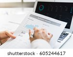 accounting calculating... | Shutterstock . vector #605244617