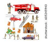vector icons set of firefighter ... | Shutterstock .eps vector #605245943