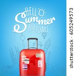 color plastic travel bag with... | Shutterstock .eps vector #605249573