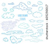 Hand Drawn Clouds Set. Stock...