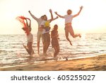 group of happy young people... | Shutterstock . vector #605255027