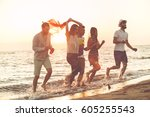 group of happy young people is... | Shutterstock . vector #605255543