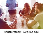 diverse people meeting... | Shutterstock . vector #605265533