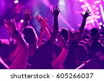 crowd rocking during a concert... | Shutterstock . vector #605266037