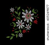 embroidery floral pattern with... | Shutterstock .eps vector #605269877