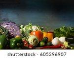 various vegetables diet... | Shutterstock . vector #605296907