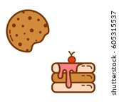 cookie and cake flat icon... | Shutterstock .eps vector #605315537