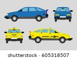 yellow taxi car and blue car ... | Shutterstock .eps vector #605318507