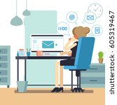 woman secretary or female...   Shutterstock .eps vector #605319467