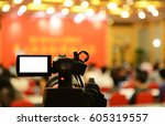 hall with video camera... | Shutterstock . vector #605319557