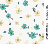 vector flowers pattern ... | Shutterstock .eps vector #605320487