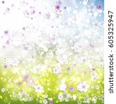 shiny spring background with... | Shutterstock .eps vector #605325947