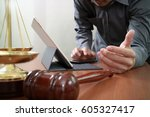 justice and law concept.male... | Shutterstock . vector #605327417