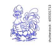 chicken on eggs blue. happy... | Shutterstock .eps vector #605331713