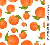 peach seamless pattern | Shutterstock .eps vector #605331737